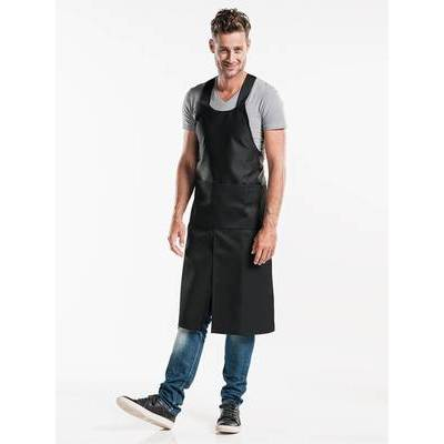 Chaud Devant Bib Apron Cross Black W75-L100 (CHA688)