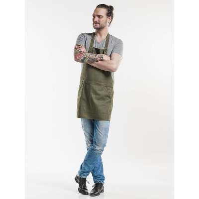Chaud Devant Bib Apron Salopet Green Denim (CHA510)