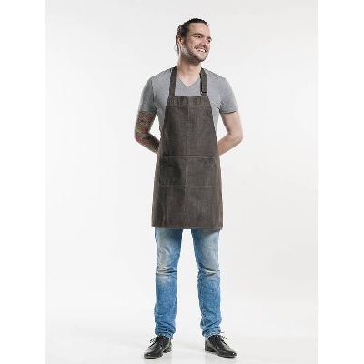 Chaud Devant Bib Apron Base Brown Denim (CHA513)