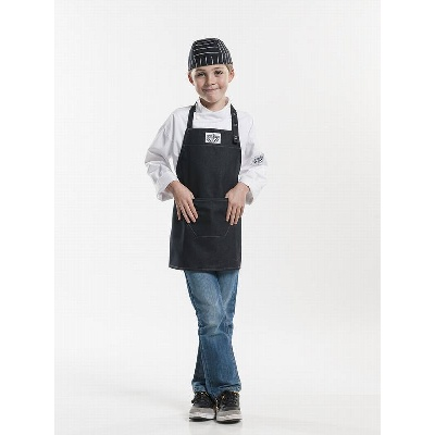 Chaud Devant Bib Apron Kids Black Denim (CHA677)