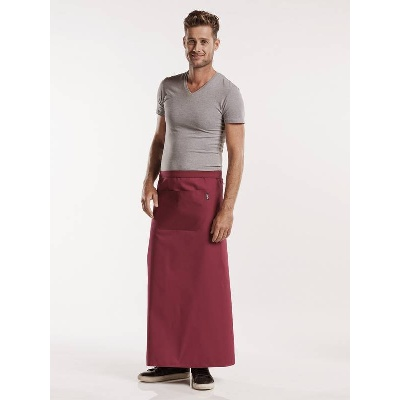 Chaud Devant Apron Burgundy W120-L100 with pocket (CHA474-4)
