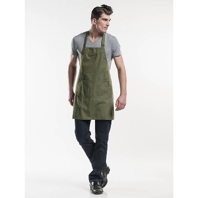 Chaud Devant Bib Apron Base Green Denim (CHA509)
