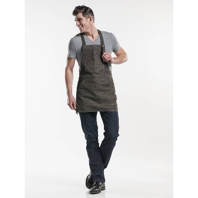 Chaud Devant Bib Apron Salopet Brown Denim (CHA594)