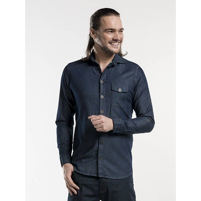 Chaud Devant Serve Elegance Shirt / Blouse Men Blue Denim (CHA620)
