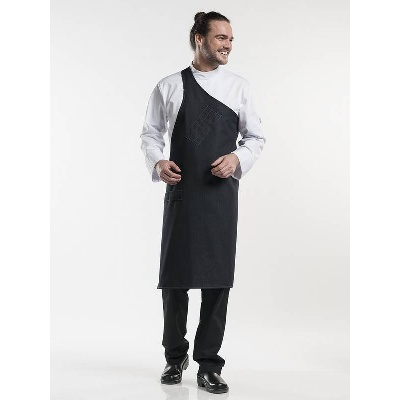 Chaud Devant Bib Apron Butcher Black Denim (CHA682)