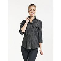 Chaud Devant Dames Overhemd Antra Denim Stretch 3/4 Sleeve (CHA630)
